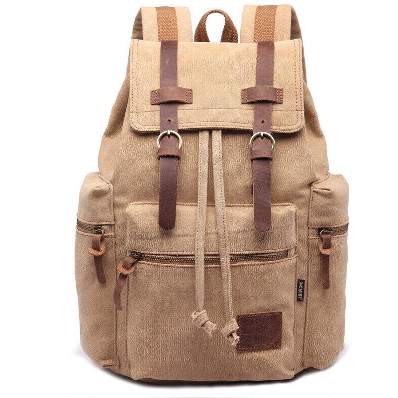 Vintage Style Canvas Backpack Rucksack Schoolbag Travel Hiking Bag Spo... - s l1600