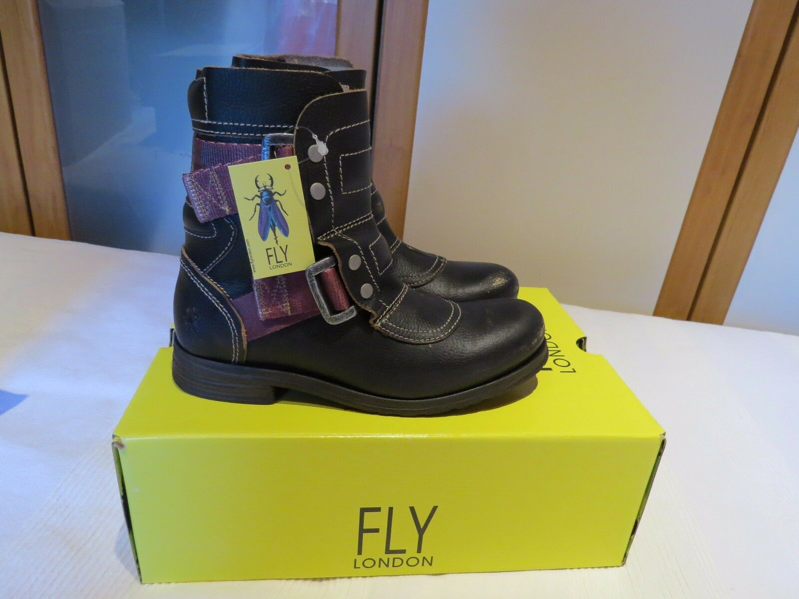 FLY UK LONDON SELI700FLY CRAFT BLACK LEATHER COMBAT Stiefel UK FLY 4 EUR 37 BNIB 612d6c