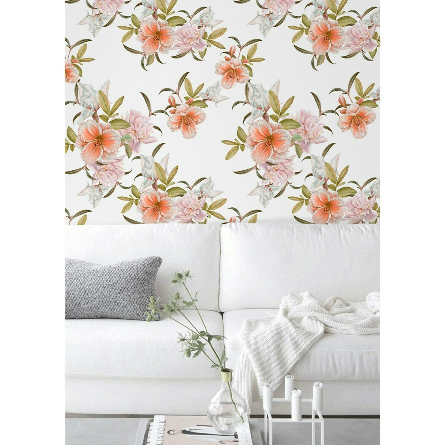 Spring floral wall mural removable wallpaper flowers Girly Powder room decor