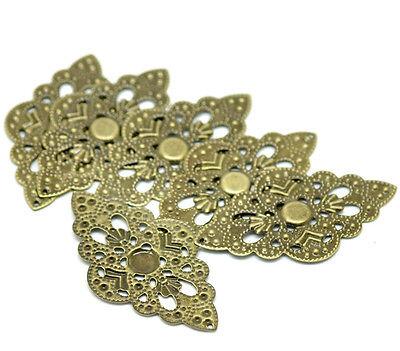 New 50 Bronze Tone Filigree Wraps Connectors Embellishments Pendants 5.2x3cm