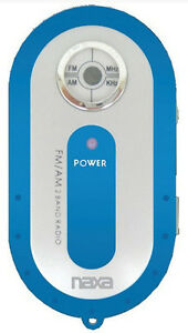 Naxa AM FM Compact Portable Radio Blue and Earbuds and Carrying Strap US Seller