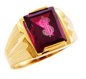 10K or 14K The Sword Garnet and Mens Gold Ring Garnet Gemstone