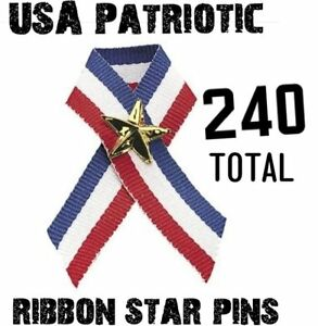 240 USA American Flag Patriotic Ribbons with stars - wholesale lot
