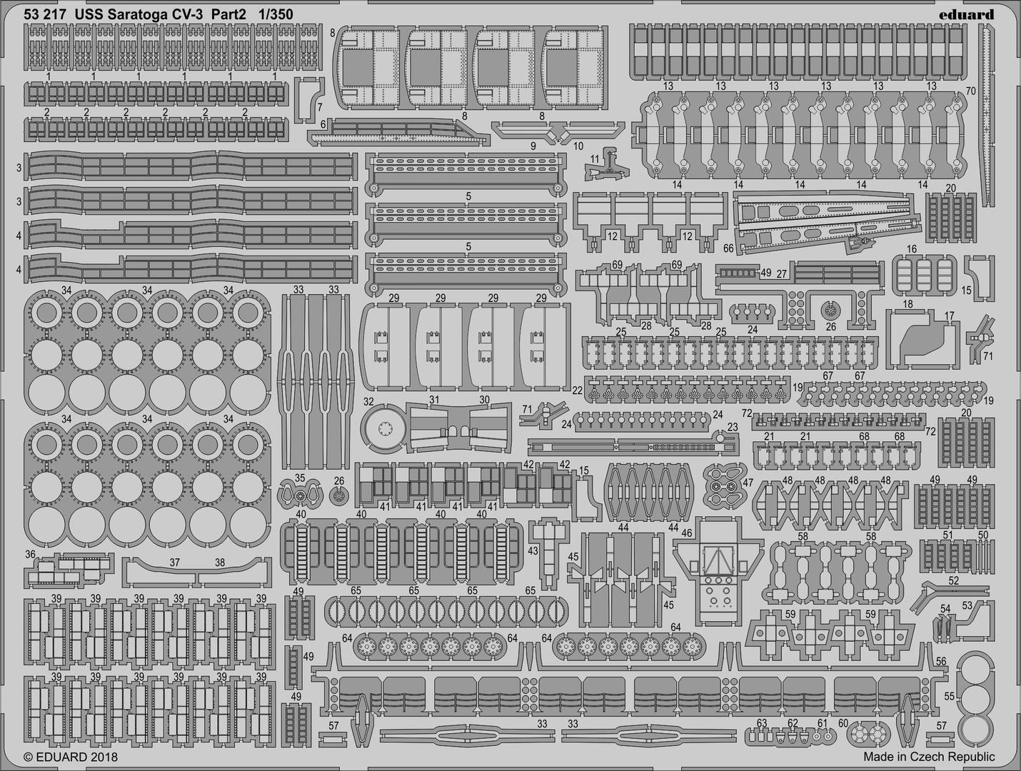 Eduard 1 350 photoetched details for USS Saratoga CV3 (pt 2) - Trumpeter 53217