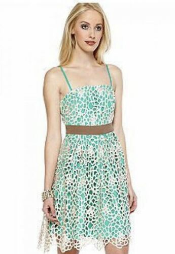 RYU Anthropologie Green Ivory Lace Overlay Dress S