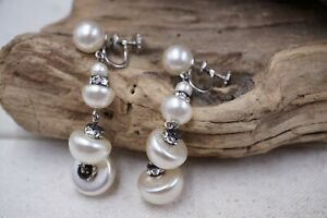 Vintage Signed Continental Screw Back Faux Pearl Earrings