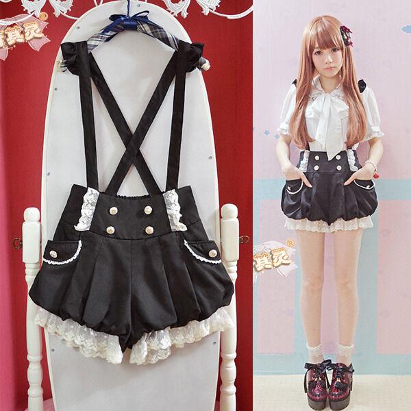 Kawaii Girls Lolita Suspender Lace Pumpkin Shorts Cute Lantern Pants Pink&Black
