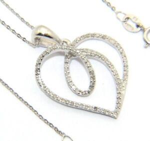 Mujer-mujer-9-ct-9-ct-oro-blanco-45-7cm-cadena-amp-colgante-de-corazon-de-diamante