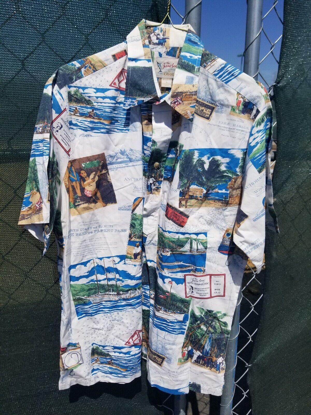 Camisa Hawaiana Camisa De Campo Kahala por  Zane gris Pesca para Hombre Talla Grande  comprar nuevo barato