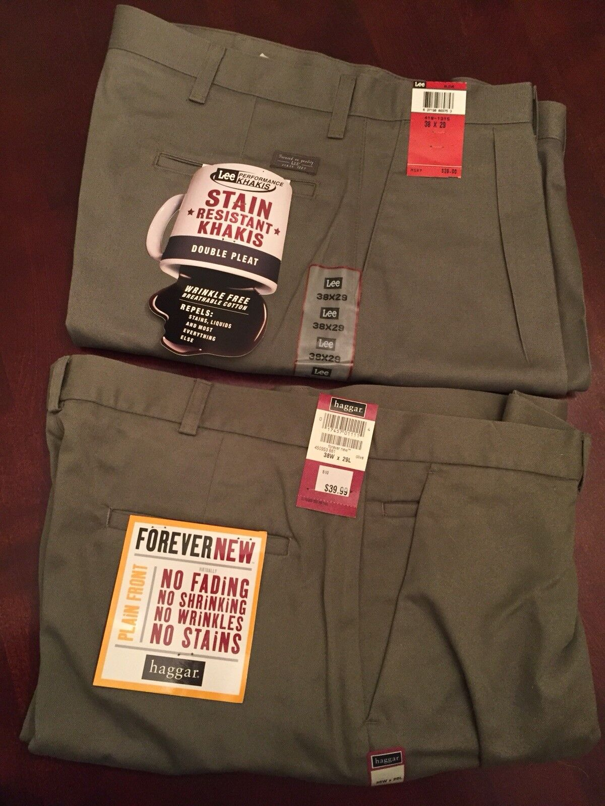 2 Olive Casual Cotton Pants  38x29  Lee + Haggar  Double Pleat + Flat Front  NWT