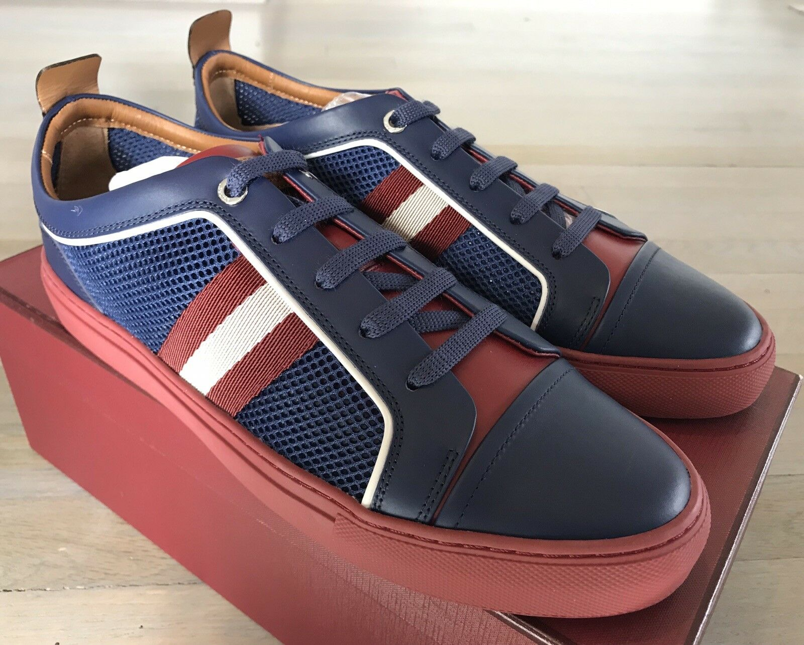 550  Bally Hegor bluee Leather and Nylon Sneakers size US 13