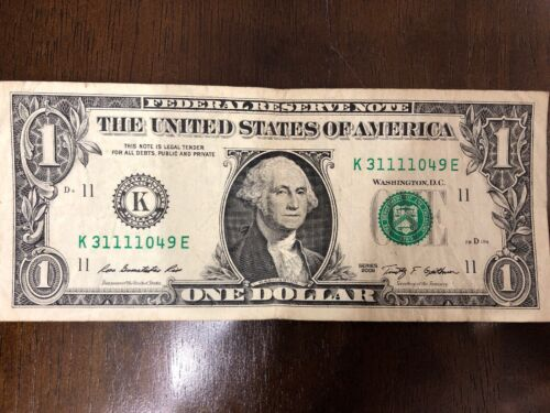 """SOLID QUAD /""""1111/"""" in $1 Dollar Bill SERIAL NUMBER of NOTEs from various FRB/'s"""