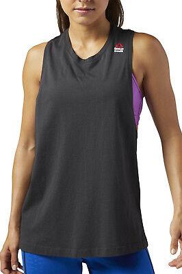 Reebok Sprayed Muscle Crossfit Womens Vest Tank Top - Black