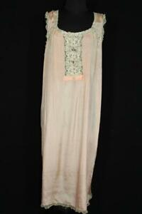 RARE-PLUS-SIZE-FRENCH-1920-039-S-1930-039-S-PINK-FINE-SILK-SLIP-WITH-LACE-TRIM-SZ-18-20