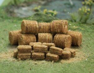Oo Gauge 10 Round, 20 Square Straw Bales 30 Pack Tasma 00378 T48 Post