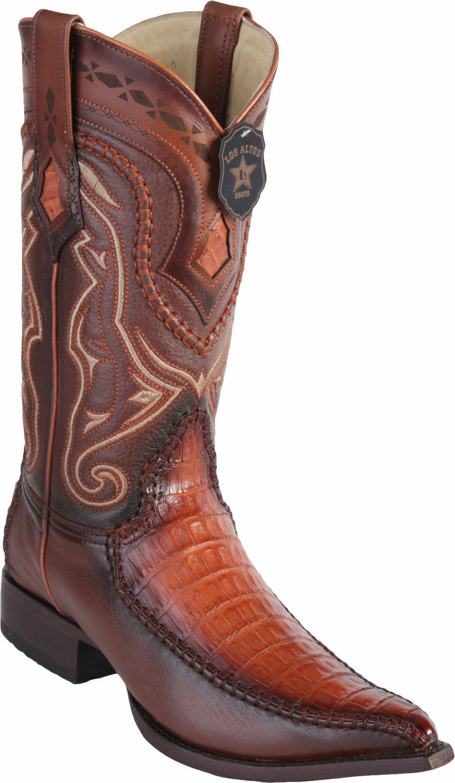 Los Altos Genuine COGNAC Caiman CROCODILE BELLY 3x Toe Western Cowboy Boot EE+