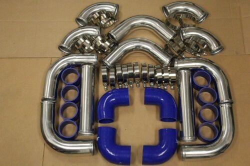 BLUE FIMC INTERCOOLER+TURBO PIPING KIT COUPLER CLAMPS TC XB CELICA MR2 AE86 FR-S
