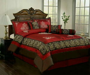 7 Pc Brown Burgundy Satin Comforter Set King Size Bed In A