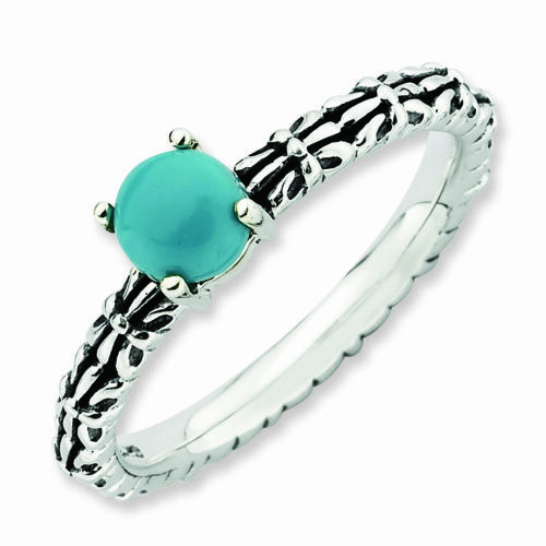 Silver Antiqued Ring Reconstituted Turquoise Stone Fashion Jewelry QSK625