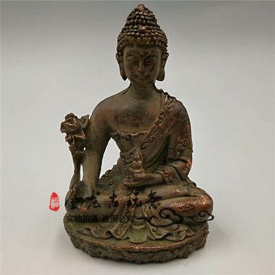 Old Tibet Tibetan Bronze Buddhism pharmacist rulai Buddha statue