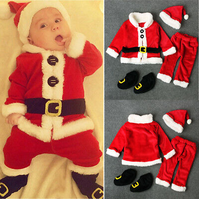 4PCS Infant Baby Boy Girl Christmas Outfits Santa Tops+Pants+Hat+Socks Costume