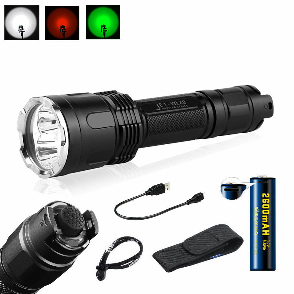 JETBAUM Taktisk LED Flashlight Hunting Triple Light USB Charging WL20 1000LM