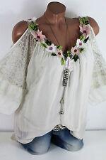 38 40 Traumhafte Bluse mit offener Schulter Blüten Volant 40 % Seide Beige
