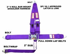 RACING HARNESS SEAT BELT 5 POINT SFI 16.1 LATCH & LINK RACERDIRECT PURPLE