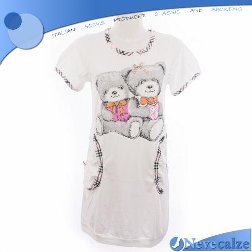 Camicia da notte donna corta estate in cotone manica corta TG M  XL DECAM020