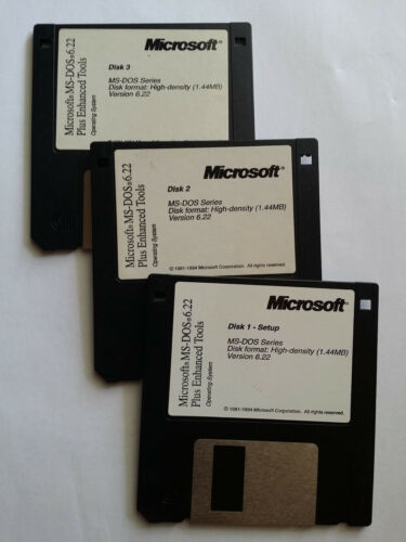 WOW FULL VERSION! ENHANCED TOOLS MS-DOS 6.22 NEW! Set Of 3 Diskette Only.