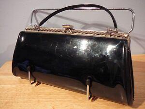 Vintage-Black-Patent-Leather-Purse-Clutch-Metro-USA