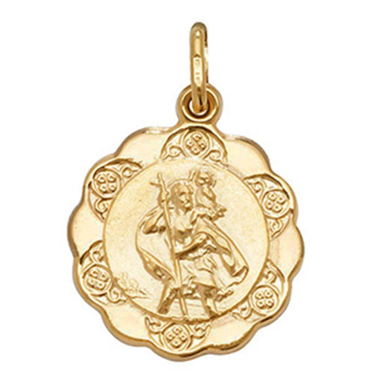 9ct gold Lightweight St Christopher Pendant 1.4g