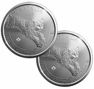 Lot Of 2 2017 5 1oz Canadian Silver Lynx Coin 9999