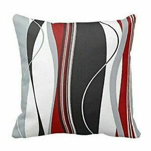 Chic-Wavy-Vertical-Stripes-Red-Black-White-Grey-Cushion-Cover-Case-18-x-18-inch
