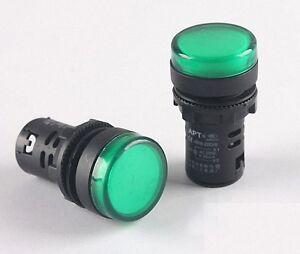 10pcs TOP QUALITY 220V 22mm Green LED Power Indicator Signal Light