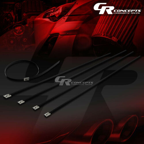 """X5 12/""""//300MM STAINLESS STEEL BLACK ZIP TIE CABLE WIRE TURBO//EXHAUST//HEADER//WRAP"""