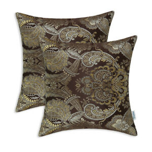 2Pcs-Cushion-Covers-Pillows-Shell-Reversible-Vintage-Florals-Coffee-18-034-X18-034