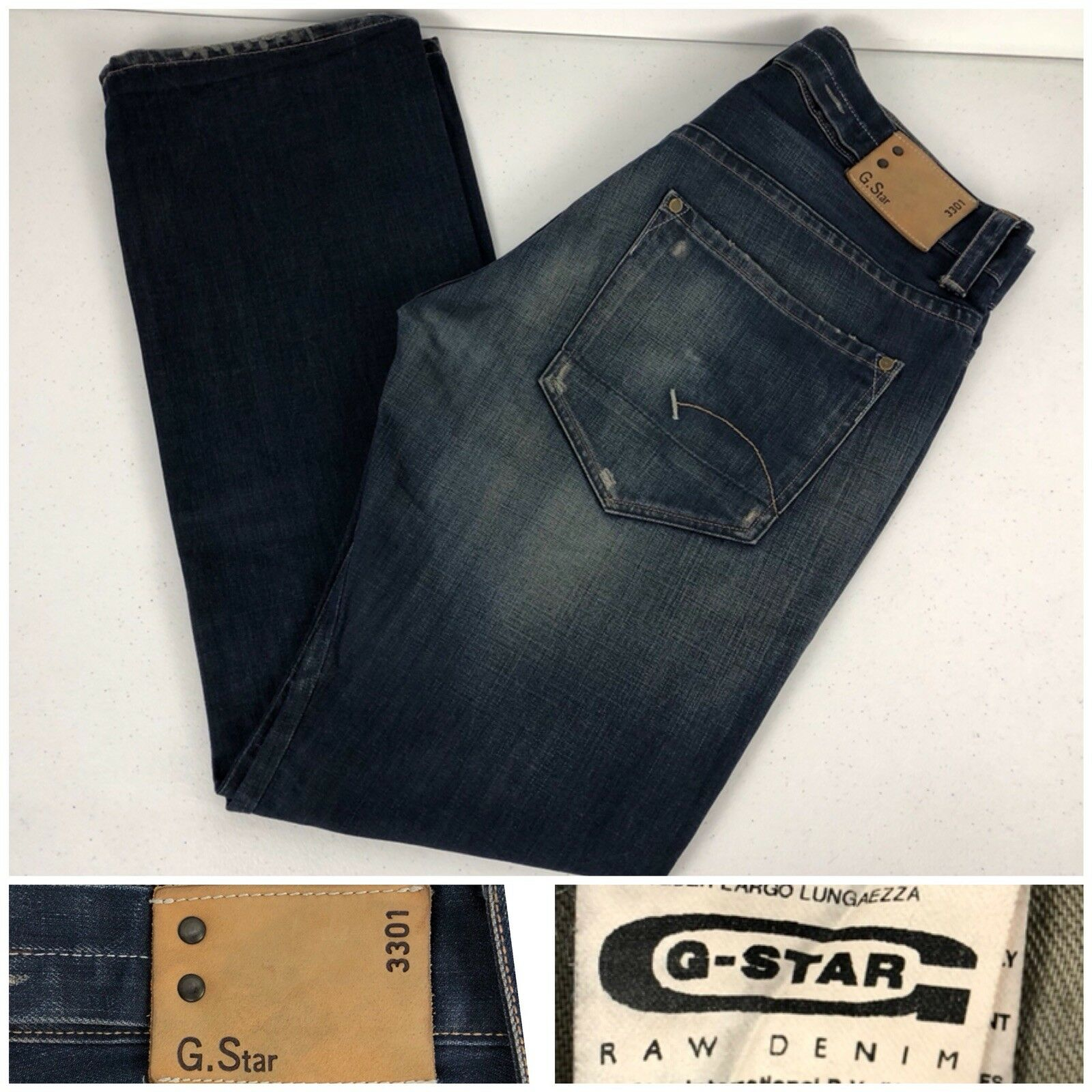 G Star Raw Mens 36 X 34 Jeans Straight 100% Cotton Button Fly Rare