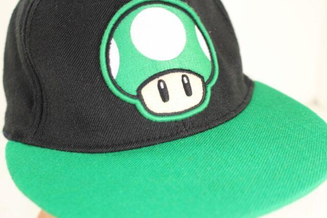 Nintendo Super Mario Bros 1UP MUSHROOM Fitted Baseball Hat Cap Black Green b96f86d553c3