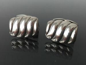 elegante Vintage Wellen - Wellen Muster Manschettenknöpfe - 835er Silber massiv