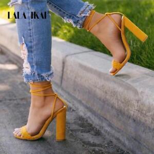 commander en ligne 100% de haute qualité nouveaux produits chauds Détails sur Femme Chaussures Bride Cheville Croix-Attaché Super Haute Carré  à Talon Femmes