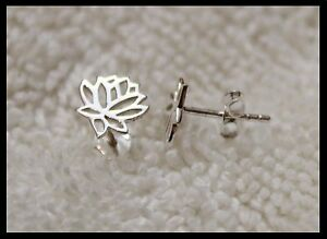 New 925 Sterling Silver Small Lotus Flower Earrings