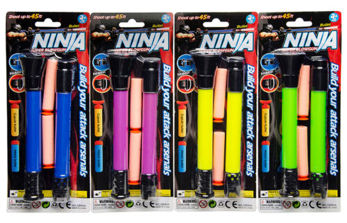 Blasrohr Ninja Pusterohr 33 cm inkl Pfeile versch. Farben Mitgebsel Tombola