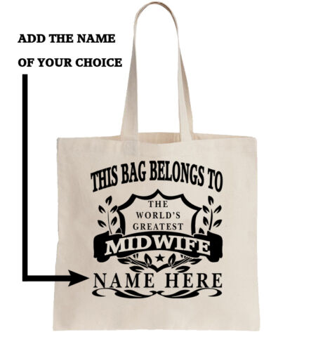 Personalised Tote Bag Shopping Bag Add Name World/'s Best Midwife Mid Wife