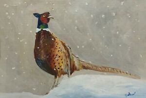 Print-of-Original-painting-art-pheasant-snow-Impressionism-country-style-decor
