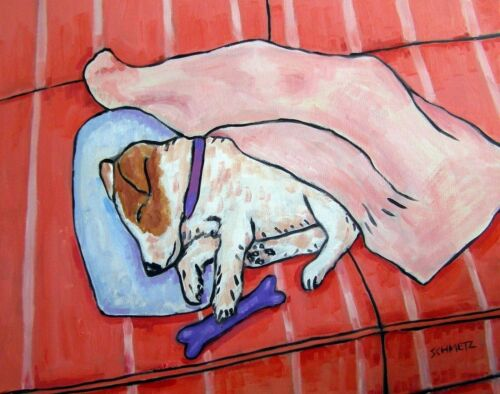 Jack Russell sleeping on a Couch 13x19  dog art print