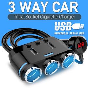 Repartiteur-prise-allume-cigare-voiture-voltmetre-adaptateur-chargeur-USB-LED-FR