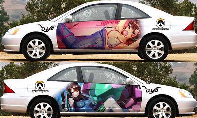Girl OW D.Va Manga Anime Car Door Decal Vinyl Sticker Full Color Fit Any Car