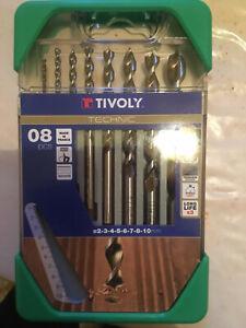 coffret de 8 forets à bois TIVOLY - Technic - diamètre 2/3/4/5/6/7/8/10 mm -neuf