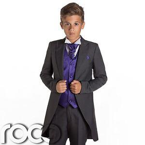 Jungen Grau Frack Anzug Lila Weste Pagenjunge Hochzeitsanzug Anzug